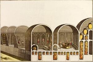 Print of Cross Section of Roman Baths