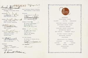 Printed Menu Signed by Winston Churchill and Franklin D. Roosvelt