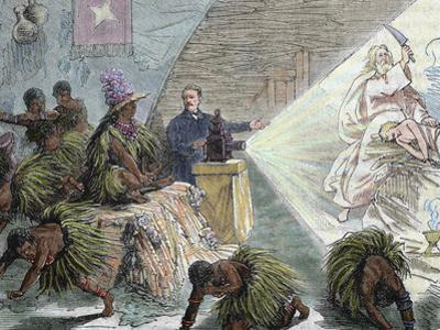 Africa, European Settler Instructing Natives by a Projection with the Unit, 'Magic Lantern' (1879)