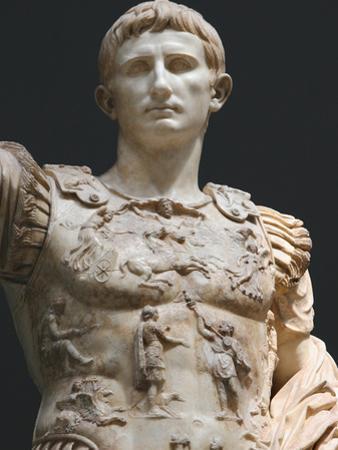 Augustus (61 Bc-14 Ad). First Roman Emperor, Marble Statue of Augustus of Prima Porta (1st Century)