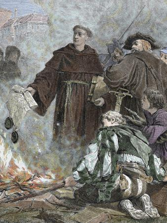 German Reformer, Luther Burning the Papal Bull 'Exsurge Domine' (1520) of Pope Leo X