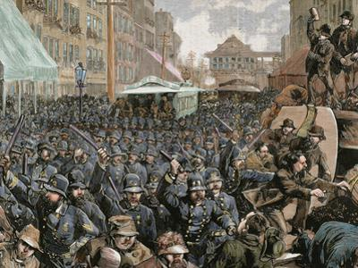 Police Officers Dispersing the Strike of Employees of Streetcar in New York, Usa, March 4, 1886