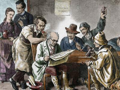 Reading the Newspaper in the Tavern, Colored Engraving, 1876.