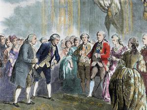 Statesman and Scientist. Franklin at Louis Xvi and Marie Antoinette, Paris, France by Prisma Archivo