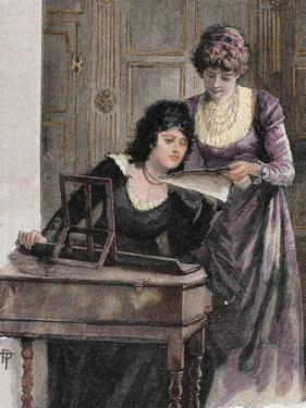 Women with a Harpsichord. Colored Engraving, 1895 by Prisma Archivo