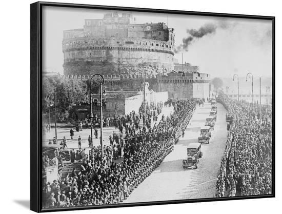 Procession of King Victor Emanuel III and Queen Elena--Framed Photographic Print