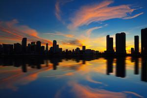 Miami City Skyline Panorama at Dusk by prochasson