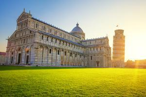 Pisa Leaning Tower and Cathedral at Sunrise by prochasson