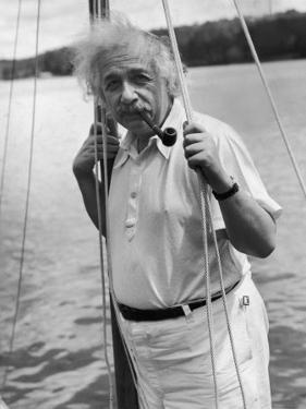 Prof. Albert Einstein on His Sailboat at Saranac Lake in the Adirondacks