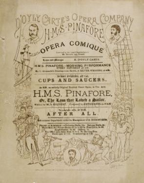 Cover of the Programme for the Original Production of Pinafore by Gilbert and Sullivan by Programme