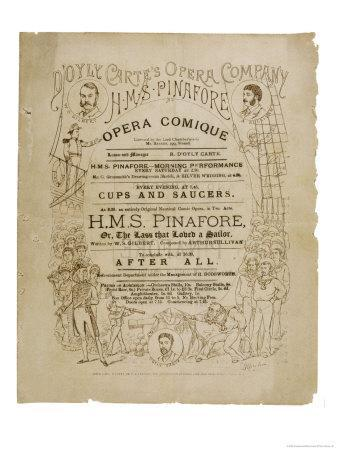 Cover of the Programme for the Original Production of Pinafore by Gilbert and Sullivan