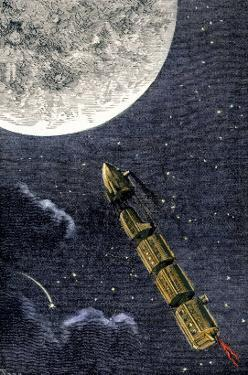 Projectile Train to the Moon, a Suggested Form of Space Travel, 1870s