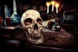 Medieval Alchemist Laboratory. Halloween. Fairy-Tale Interior. by prometeus