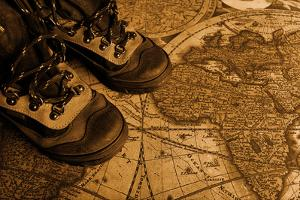 Old Fashioned Objects On The Vintage Map by prometeus
