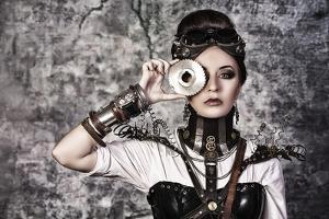 Portrait Of A Beautiful Steampunk Woman Over Grunge Background by prometeus