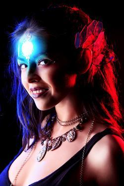 Portrait of a Beautiful Young Woman with Fantasy Makeup. Black Background. by prometeus
