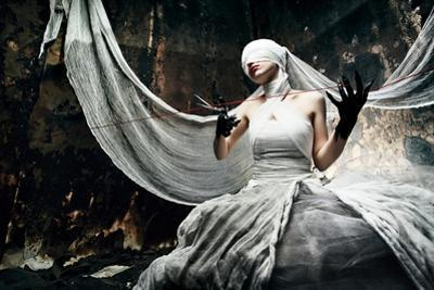 Shot Of A Twilight Girl In White Dress. Halloween, Horror by prometeus