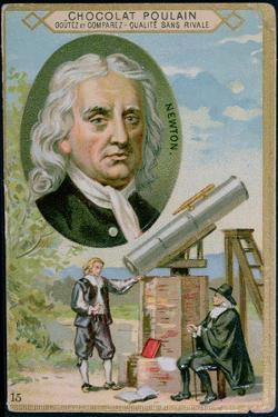 Promotional Card for 'Poulain' Chocolate with an Illustration of Sir Isaac Newton