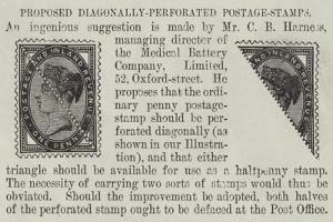 Proposed Diagonally-Perforated Postage-Stamps