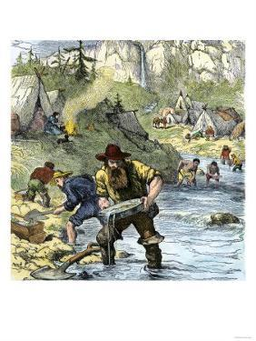 Prospectors Panning for Gold in the California Gold Rush