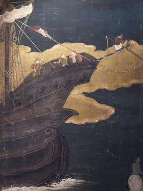 Prow of Ship, Detail from Portuguese Arriving in Japan, Paper Screen, Japan, Nanban Civilization