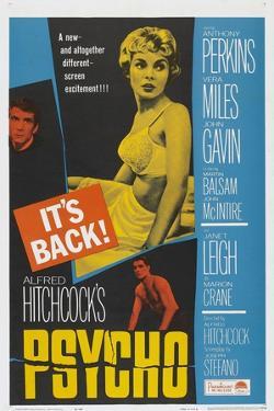 PSYCHO, US poster, Anthony Perkins (left), Janet Leigh (center), John Gavin (bottom), 1960