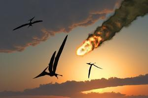 Pteranodons in Flight, Unaware of the Danger That a Crashing Asteroid Is About to Bring