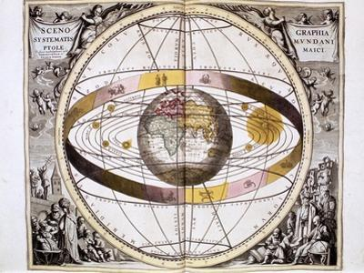 Ptolemaic (Geocentric/Earth-Centre) System of the Universe, 1708