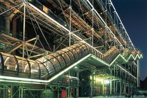 Public Building Lit Up at Night, Pompidou Center, Paris, France