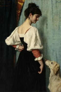 Standing Young Italian Woman, Looking Down at the Dog by Puck