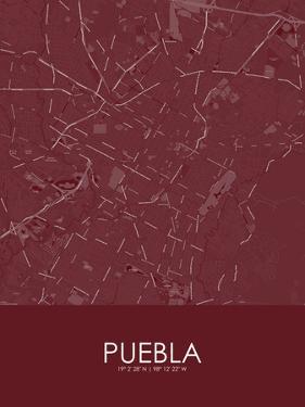 Puebla, Mexico Red Map