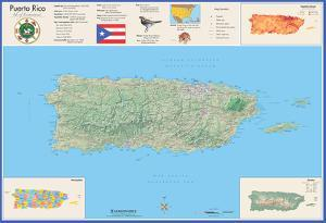 Puerto Rico Laminated Wall Map