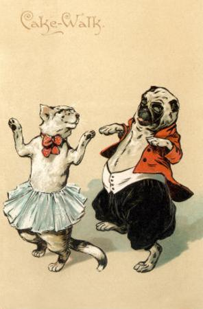 Pug and Cat Dancing the Cake Walk