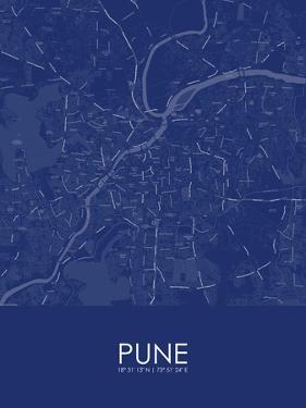Pune, India Blue Map