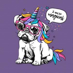 Puppy Bulldog in a Bright Colored Costume of a Unicorn: Wig, Horn and Tail. Vector Illustration. I