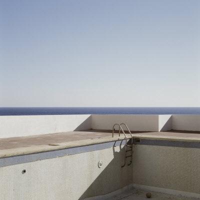 Abandoned Empty Swimming Pool Next to Sea, Ibiza, Spain, Europe