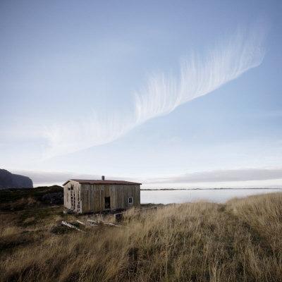 Derelict Barn on Coast, Lofoten Islands, Norway, Scandinavia, Europe