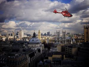 London Air Ambulance over Westminster, London, England, United Kingdom, Europe by Purcell-Holmes