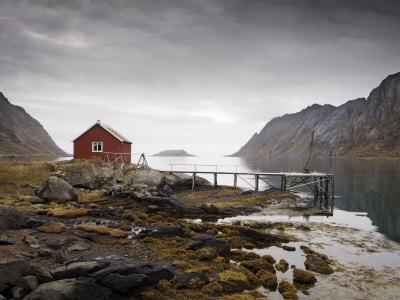 Rorbu and Jetty on Fjord, Lofoten Islands, Norway, Scandinavia, Europe