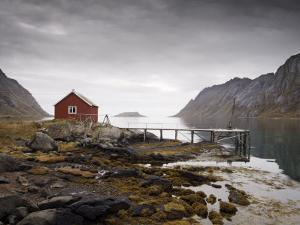 Rorbu and Jetty on Fjord, Lofoten Islands, Norway, Scandinavia, Europe by Purcell-Holmes