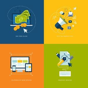 Flat Design Icons for Web and Mobile Services and Apps by PureSolution