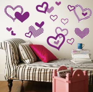Purple Pattern Hearts