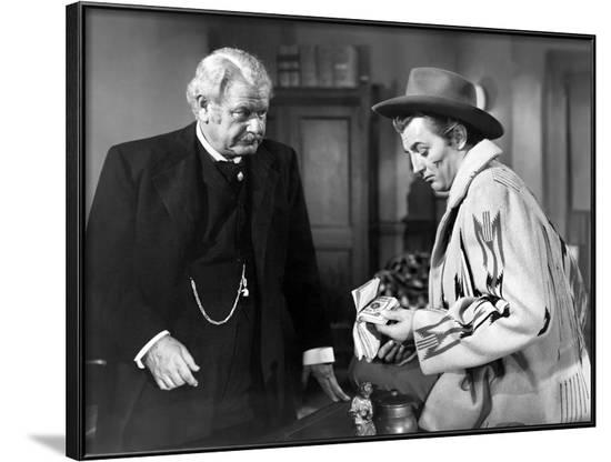 PURSUED, 1947 directed by RAOUL WALSH Alan Hall and Robert Mitchum (b/w photo)--Framed Photo