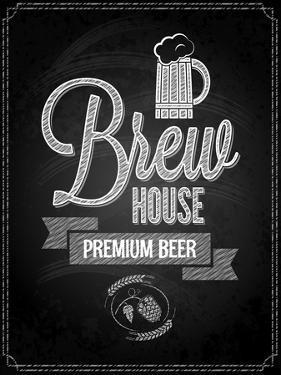 Beer Menu Design House Chalkboard Background by Pushkarevskyy