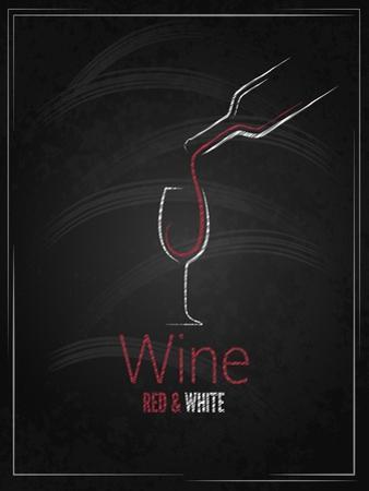 Wine Glass Chalkboard Menu Background by Pushkarevskyy