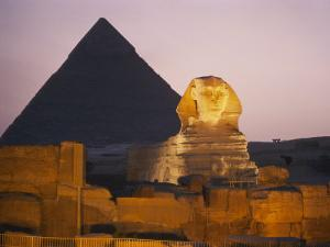 Pyramids of Giza with the Great Sphinx at Twilight