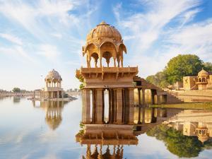 Indian Landmarks - Gadi Sagar Temple on Gadisar Lake - Jaisalmer, Rajasthan by pzAxe