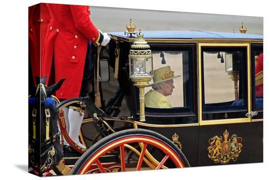 Queen Elizabeth II at her Annual Birthday Parade Trooping the Colour--Stretched Canvas