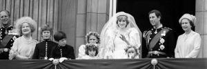 Queen Elizabeth II, Prince Philip, Prince Charles, Princess Diana on Balcony of Buckingham Palace