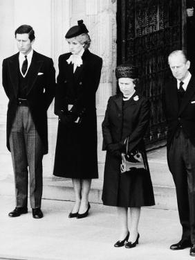 Queen Elizabeth II Prince Philip Princess Diana and Prince Charles at Duchess of Windsor Funeral